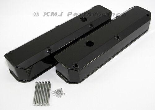 Dodge 318 340 360 Black Powder Coated Long Bolt Fabricated Aluminum Valve Covers