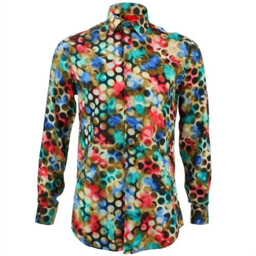 Blue Retro Psychedelic Fancy Loud Tailored Originals Shirt Fit Dotty Mens xwKq17gYTA
