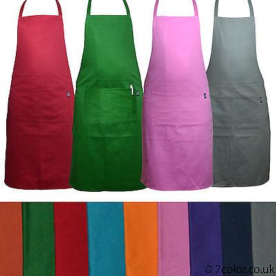 Chefs Aprons plain 100% Cotton Front Pockets Kitchen Butcher cooking BBQ Stuff.