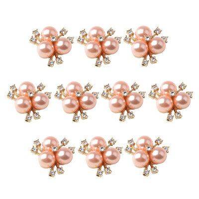 10x Jewelry Crystal Button Rhinestone Flowered Pearl Ornaments Rose Gold