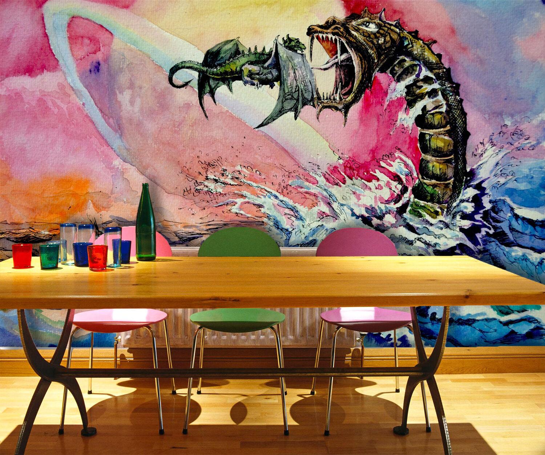 3D Sea, dragon 567 Wall Paper Print Wall Decal Deco Indoor Wall Murals