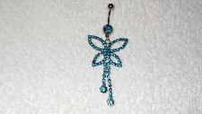 Cute Blue Crystal Butterfly Belly Navel Ring Body Jewelry Piercing 14g Dancer