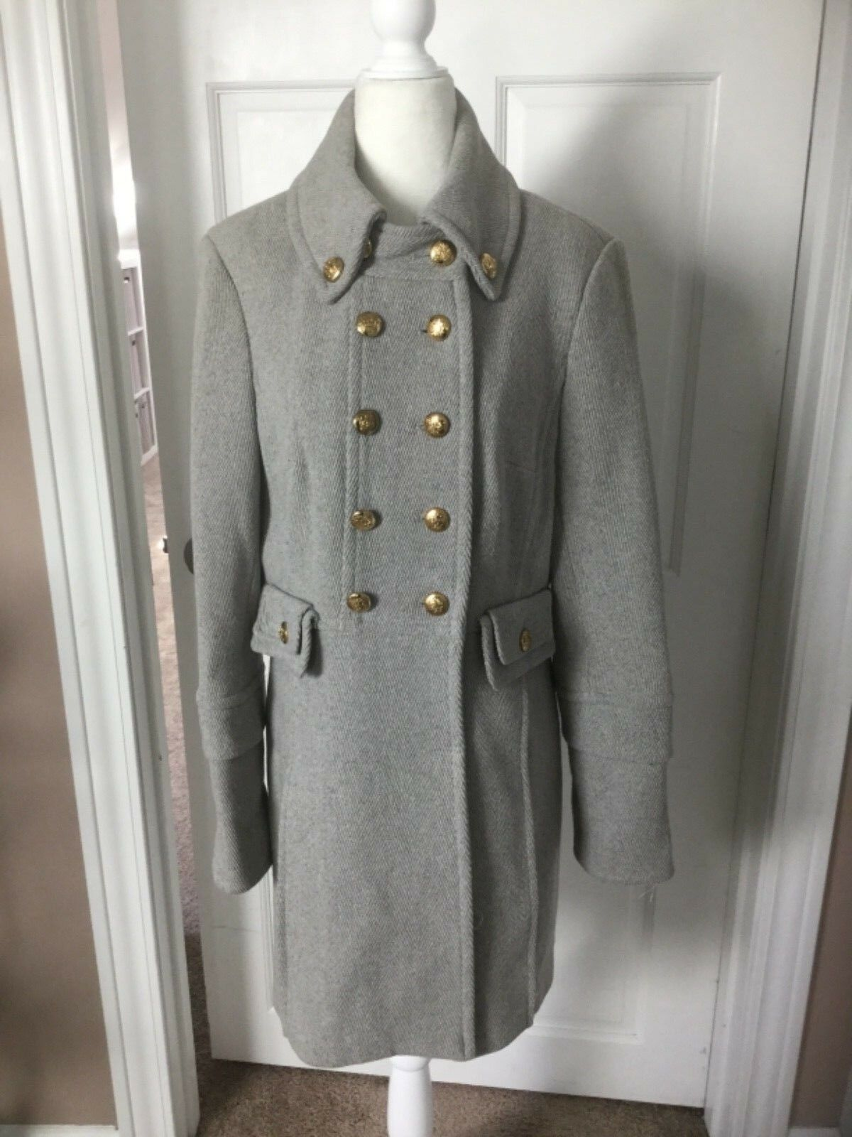 NWOT Bebe Herringbone Grey Wool Military Style Coat Size L