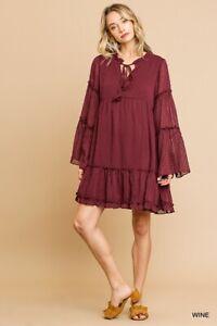 Umgee-Burgundy-Swiss-Dot-Ruffled-Tiered-Long-Sleeve-Dress-Size-Small