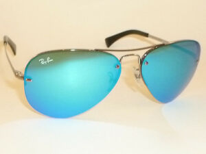 0f7a67ca57 New RAY BAN Aviator Sunglasses Gunmetal Frame RB 3449 004 55 Blue ...