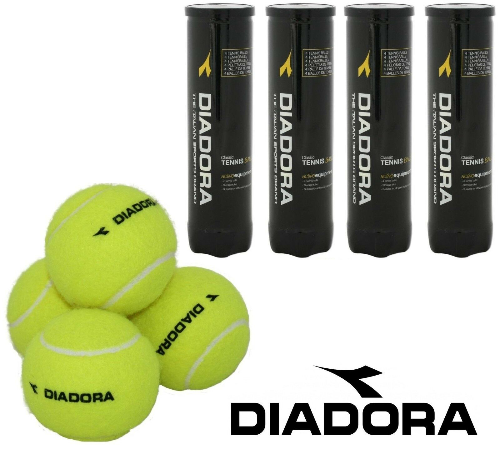DIADORA® Classic Tennis Balls Pressurised Sealed Storage Tube for All Surface