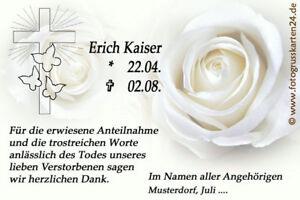 Kuverts Trauerkarten Dankeskarten Trauer Beerdigung Danksagungskarte 10 x Foto