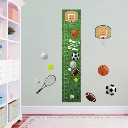 Personalised Sports Basketball Tennis Soccer Height Growth Stickers Chart Pack