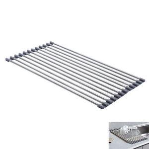 over the sink roll up drying rack stainless steel kitchen utensils organizer ebay. Black Bedroom Furniture Sets. Home Design Ideas