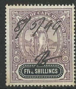 SOUTH-AFRICA-CAPE-OF-GOOD-HOPE-QV-1898-FIVE-SHILLINGS-REVENUE-USED