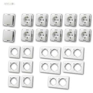 Steckdosen-Schalter-und-Rahmen-Set-Flair-034-Niveau-034-23-teilig-UP-unterputz-weiss