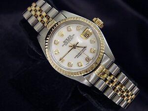 Rolex-Datejust-Ladies-2Tone-14K-Yellow-Gold-Steel-Watch-White-MOP-Diamond-6917