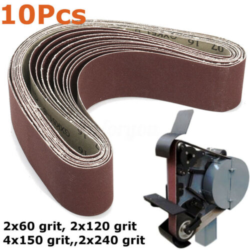 10pcs Sanding Belts Mixed 60-240 Grit 50x686mm Durable For Grinding Polishing Us