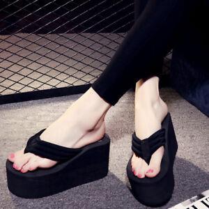 57aea94800b Women s Platform Flip Flops Wedges Beach Thick High Heel Sandals ...
