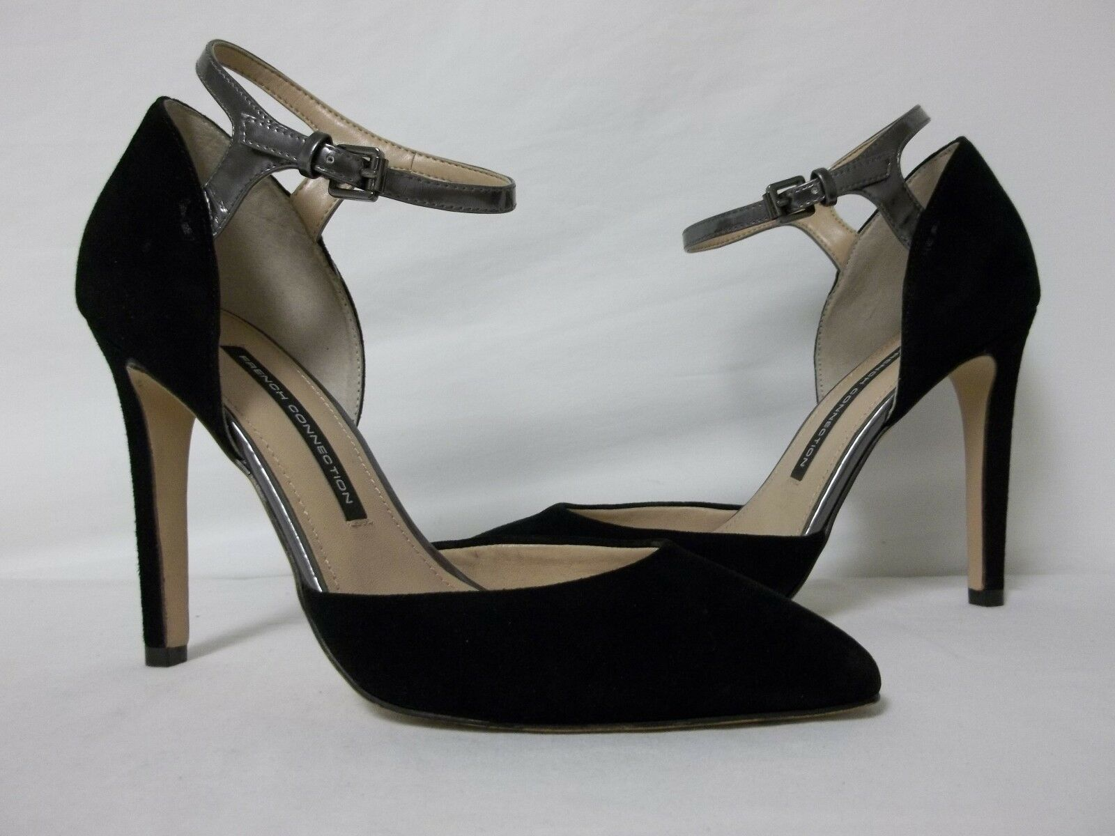French Connection EU 39 US 8.5 M Manuela Suede Black Heels New Womens shoes NWOB