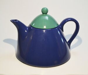 Vintage-PAGNOSSIN-Treviso-Blue-w-Teal-Lid-Teapot-Tea-Pot-Made-in-Italy-Conical
