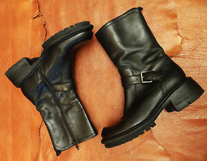 90s-Vintage-Ankle-Boots-Black-Leather-Motorcycle-Boots-Size-7-Nine-west