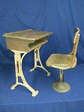 VANTAGE Antique Childs School desk Kenny Bros& Wolkins Boston Mass Hardwood Iron