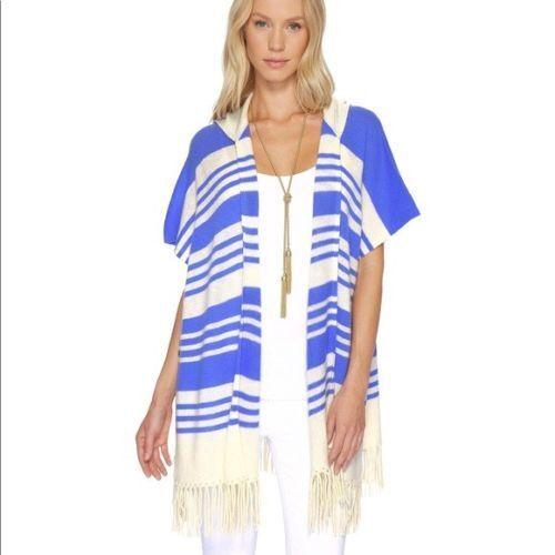NWT Lilly Pulitzer Avion Cashmere Cardigan Hoodie Blau Stripe One Größe