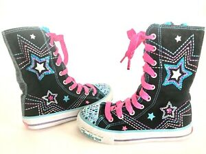 Skechers-Twinkle-Toes-Knee-High-Boots-Canvas-Rhinestones-Lace-Up-Zip-Girls-12
