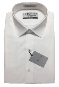 New Men's White Slim Fit Twill Laydown Collar Shirt Ike Behar Designer TUXXMAN