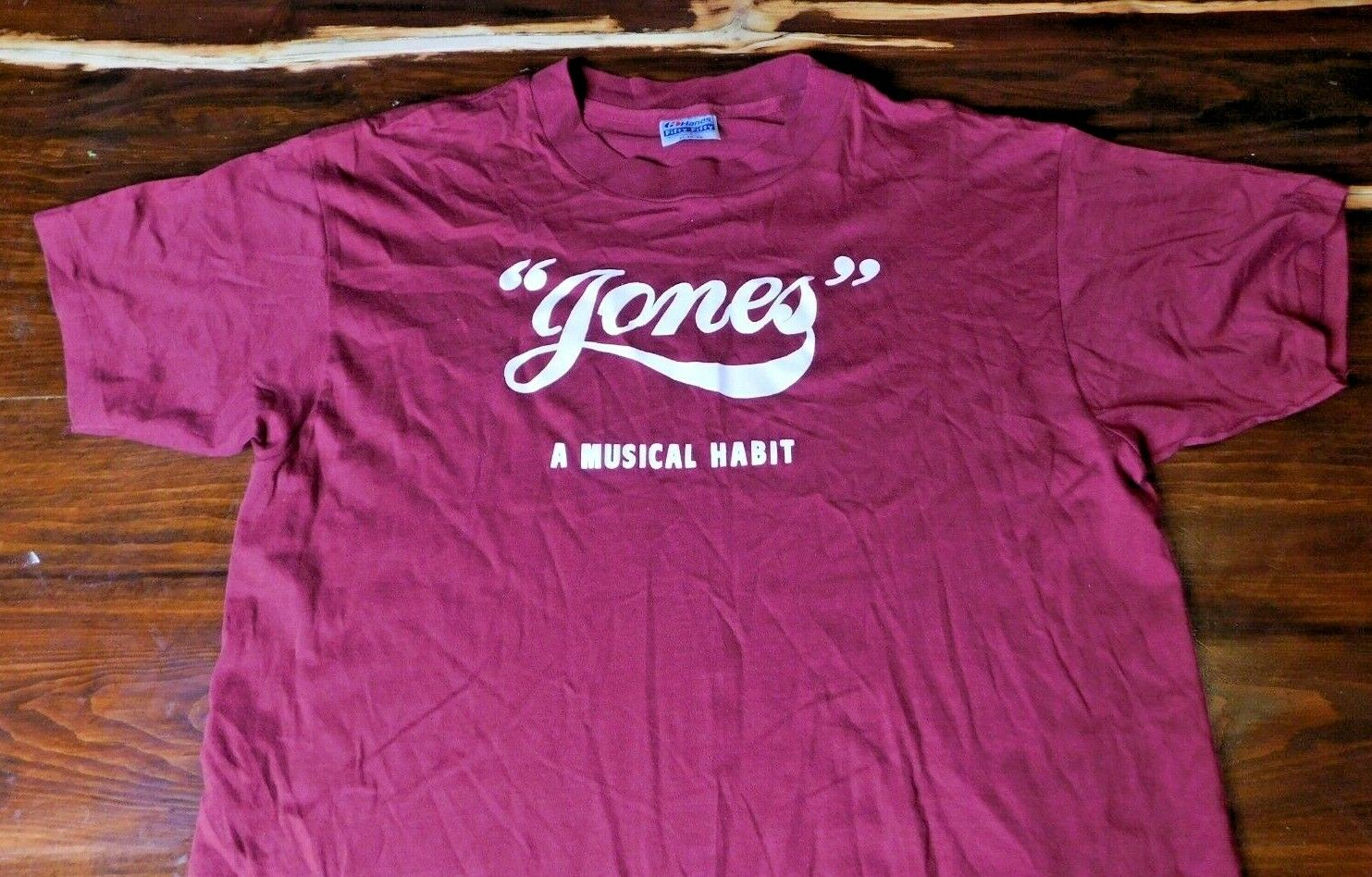 Vintage Jones A Musical Habit Tshirt Excellent Condition XL Burgundy Made In USA