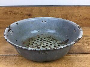 Vintage Graniteware Enamelware Grey Swirl Colander Strainer