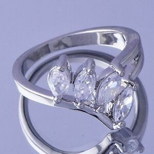 10K-White-Gold-Filled-GF-CZ-Leaf-Petal-Ring-Size-7-5-US-O-5-Aus