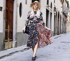 ba869249b Detalles de Zara Woman Asimétrico Estampado Patchwork Floral Boho Bloggers  Vestido Midi S 8 10!- ver título original