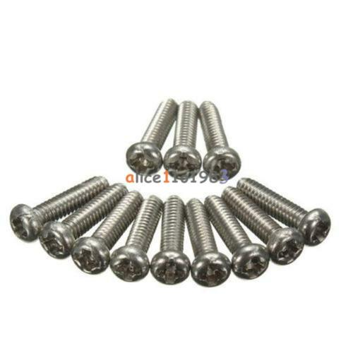 50PCS M2X6mm Screws Stainless Steel Round Head Plain End Metric Machine