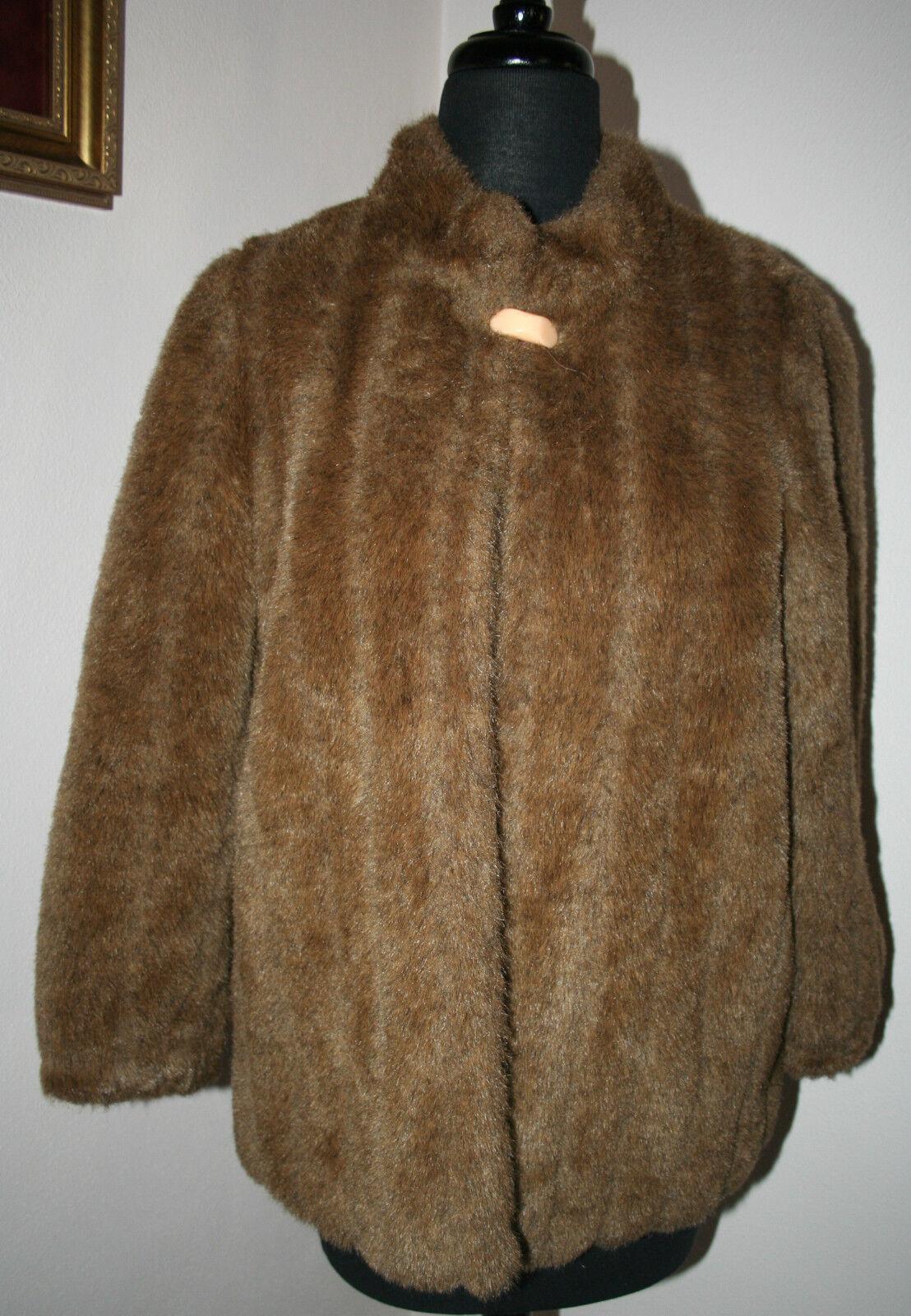 Women's Mink Faux Fur Coat Brown Mink Cape Shawl Stole Shrug FENG CHANG MINT