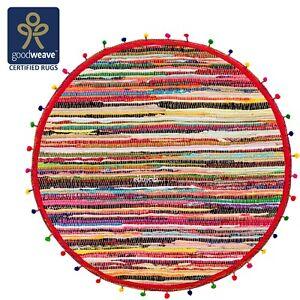 Comercio-Justo-Redondo-90cm-Algodon-Chindi-Alfombra-De-Trapo-Multicolor-Trenzado-Arco-Iris-Pom-Pom