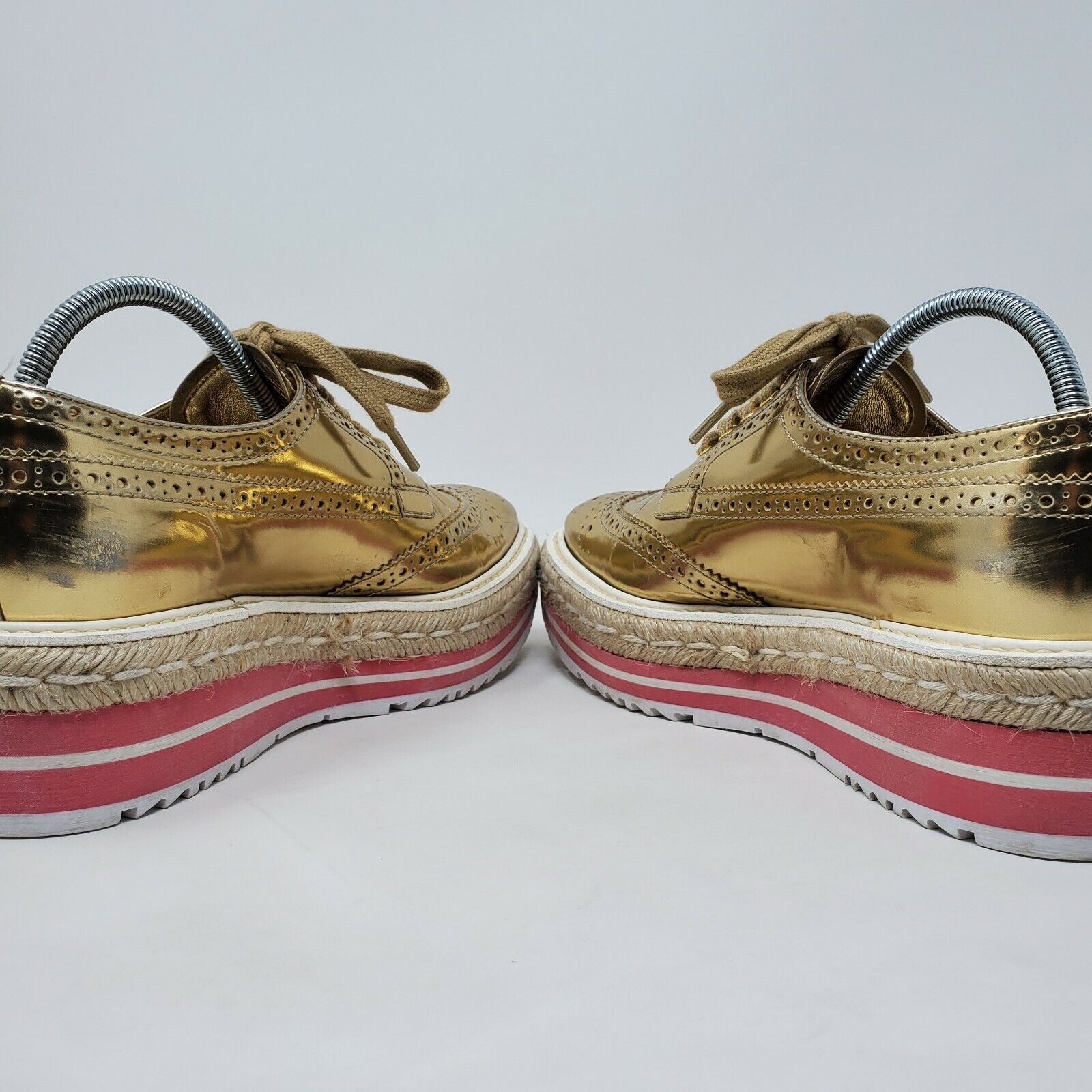 PRADA espadrille oxford shoes gold brogue pink pl… - image 7