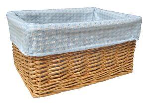 Details About Natural Wicker Basket Nursery Storage Gift Hamper Blue Gingham Cotton Lining