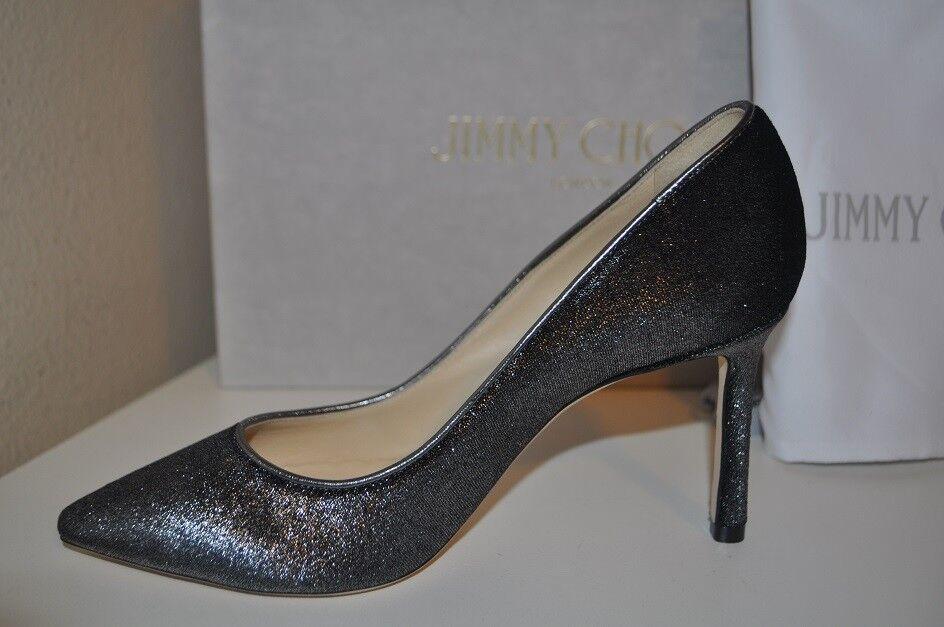 NIB Jimmy Choo ROMY 85 ANTHRACITE Metallic Velvet Leather Trim Pump shoes 37.5 -7
