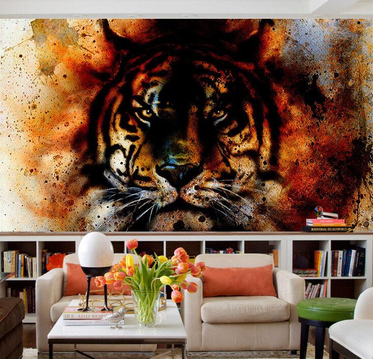 3D Graffiti Tiger Head 3037 Wallpaper Decal Dercor Home Kids Nursery Mural Home