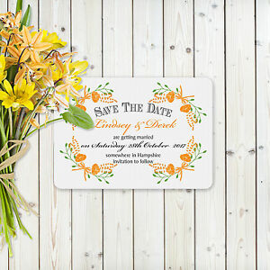 Fantasy Orange Floral Personalised Save the Date card on White card
