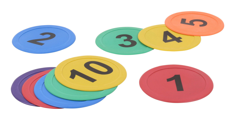 Pedine da impiegare a terra con numeri - in set da 10 - 25 - 50