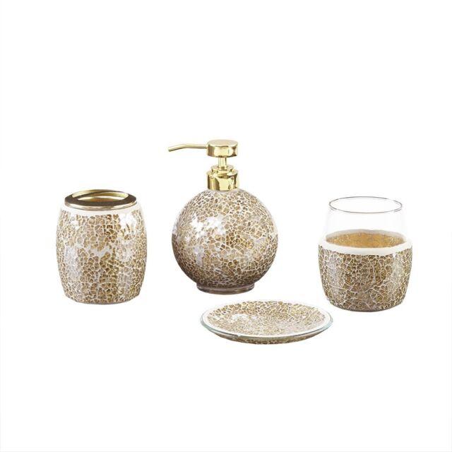 Enjoyable Mosaic Bathroom Accessories Set 4 Piece Bath Accessory Sets With Gold Soap Home Interior And Landscaping Fragforummapetitesourisinfo