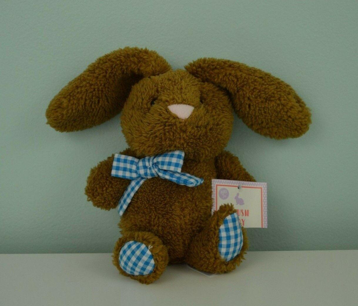 Animal Adventure Bunny Rabbit Plush Stuffed Toy Brown bluee White Gingham Bow