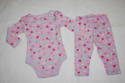 Lavender Little Me Baby Girls 2-Pack Romper with Hat Kitty Cat and Hearts