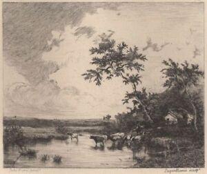 Jules-Dupre-Vaches-passant-un-gue-Eau-forte-Laguillermie-XIXe-siecle