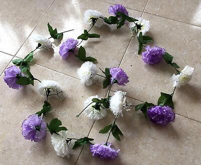 Dekogirlande Nelken 2,50 m Nelkengirlande  lila   Blütengirlande