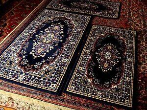 Parure tris 3 tappeti scendiletto disegno orientale persiano nain tabriz eco blu ebay - Tris tappeti camera da letto ...