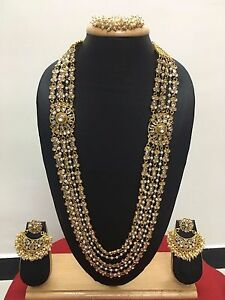 Bollywood-Indian-Designer-Ethnic-Gold-Plated-CZ-Pearl-Fashion-Jewelry-Set