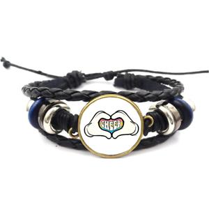 Cartoon main-Coeur Cheer Verre Cabochon Bracelet Tressé Bracelet En Cuir Bracelets