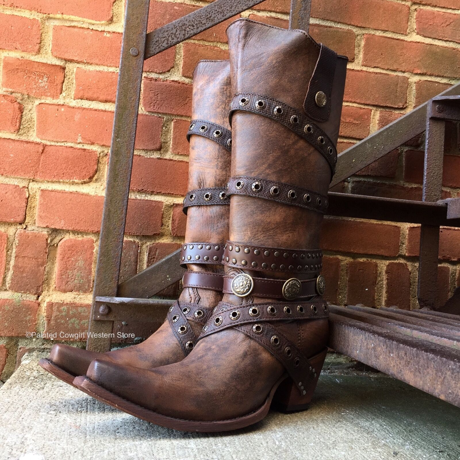 CORRAL WOMEN'S EDGY BROWN LEATHER BOOTS WITH STRAPS C2970  -  LAST PAIRS SALE