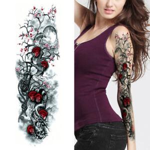 Trees Roses Skulls Black Full Arm Temporary Tattoo Sleeve Body