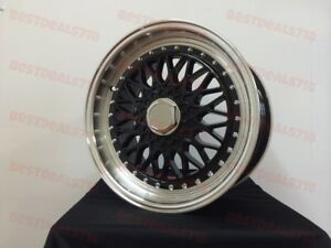 15-034-BLACK-W-LIP-RS-STYLE-RIMS-WHEELS-FITS-CIVIC-EK-EF-EG-HB-COUPE-SENTRA-4X100