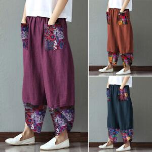 Mode-Femme-Pantalon-Decontracte-lache-Loisir-Impression-Poche-Jambe-Large-Plus